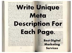 Unique Meta Description for each page