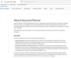 Google Ad keyword planner