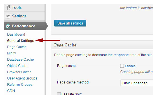 W3 Total Cache -caching