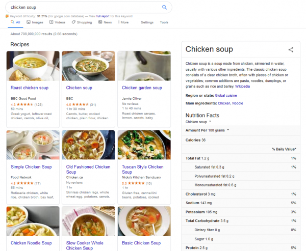 google example - chicken soup