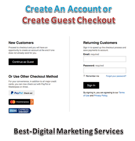 create an account or guest check out