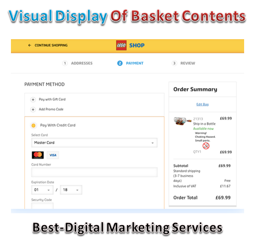 visual display of basket contents