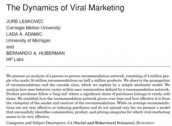 Dynamics Of Viral Marketing