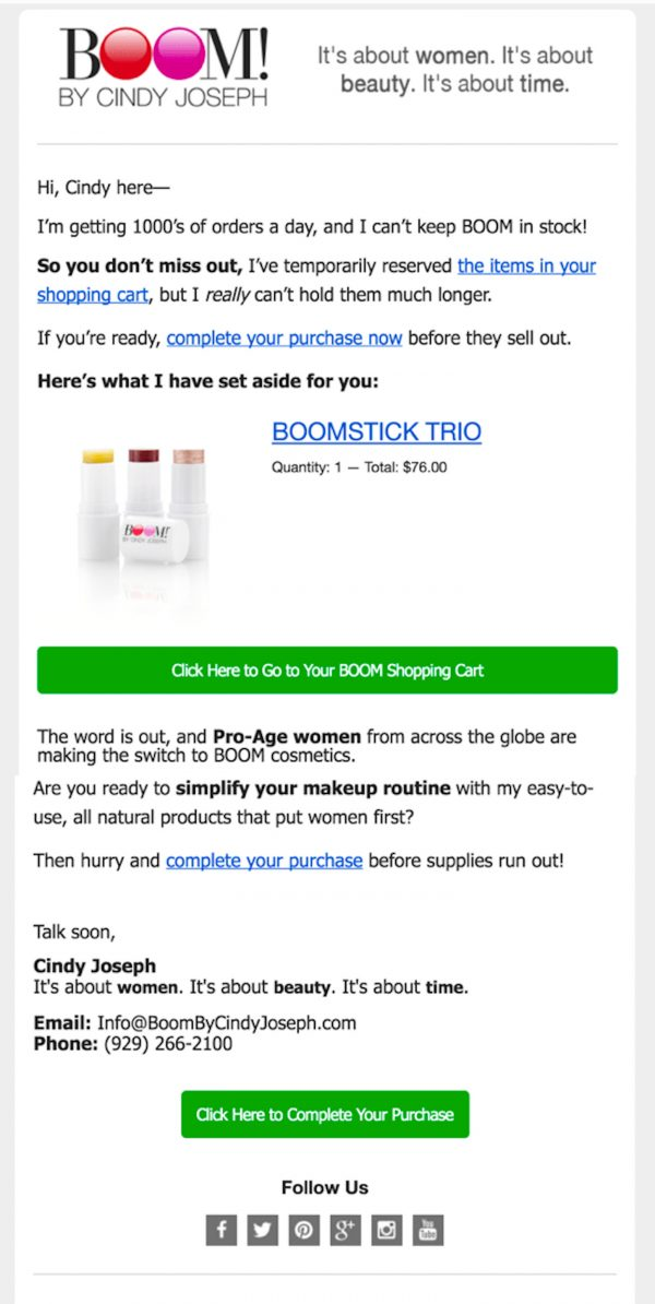 Example Of E-mail Marketing Re-targeting
