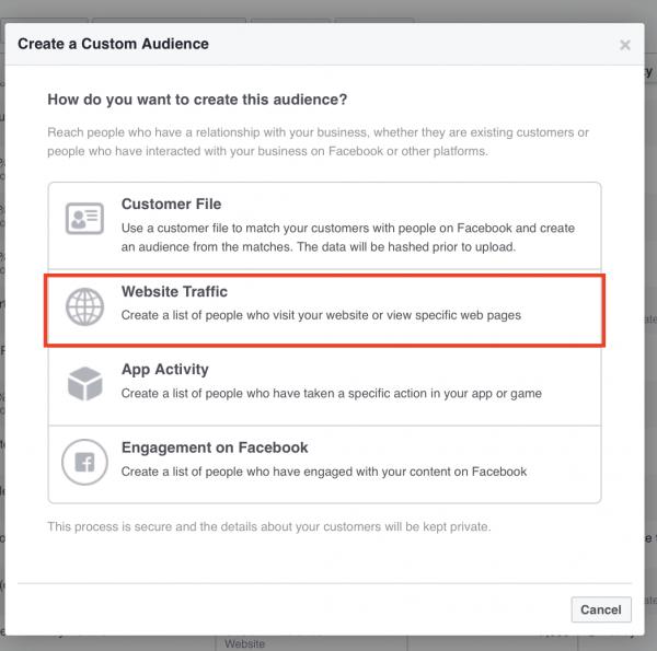 FB Create Custom Audience - Website Traffic