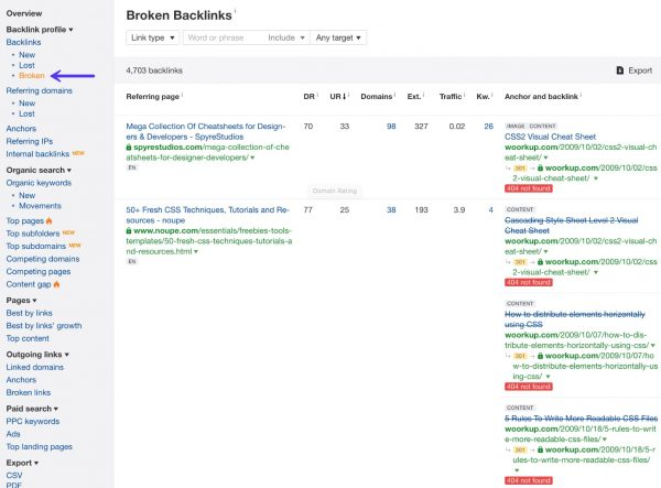 Ahrefs Broken Backlinks Report