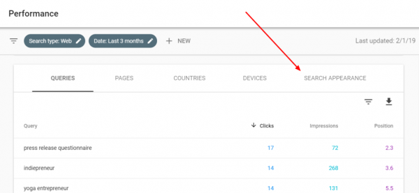 Example of Google Search Console