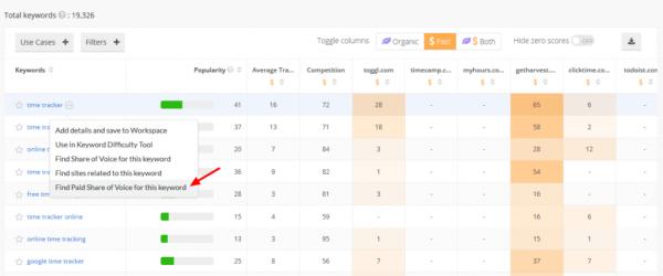 Google Keyword Planner - results