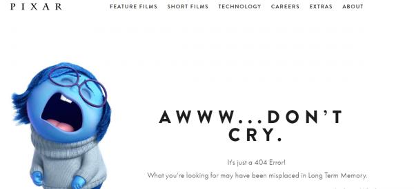 Pixar Broken Link Custom Page