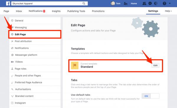 Edit Page Tabs
