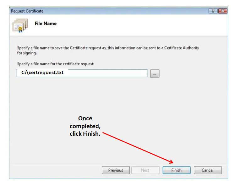 save filename Certificate Request